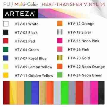 Arteza Wärmeübertragung Vinylfolie, 25.4 x 30.5cm (10 x 12 Zoll), Packung mit 14 Heat Transfer Vinylblättern, vielseitige Plotterfolie, Vinyl Papier für Hitzedruck-Transfer von Bügelbildern - 3