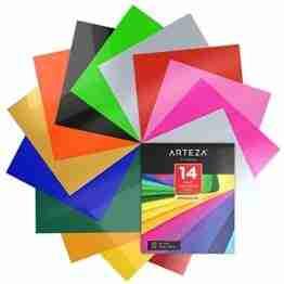 Arteza Wärmeübertragung Vinylfolie, 25.4 x 30.5cm (10 x 12 Zoll), Packung mit 14 Heat Transfer Vinylblättern, vielseitige Plotterfolie, Vinyl Papier für Hitzedruck-Transfer von Bügelbildern - 1