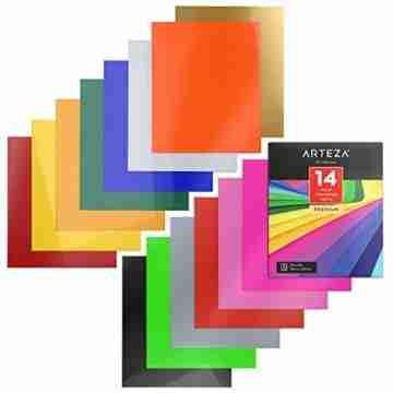 Arteza Wärmeübertragung Vinylfolie, 25.4 x 30.5cm (10 x 12 Zoll), Packung mit 14 Heat Transfer Vinylblättern, vielseitige Plotterfolie, Vinyl Papier für Hitzedruck-Transfer von Bügelbildern - 4
