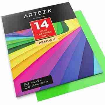 Arteza Wärmeübertragung Vinylfolie, 25.4 x 30.5cm (10 x 12 Zoll), Packung mit 14 Heat Transfer Vinylblättern, vielseitige Plotterfolie, Vinyl Papier für Hitzedruck-Transfer von Bügelbildern - 6