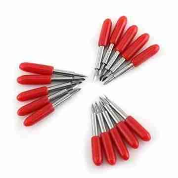 Plotter Messer, 15 Stücke 45 Grad Plotter Cutter Blades Rote Kappe Hartmetall Roland GCC Vinyl Cutter Schneideplotter Klinge - 3