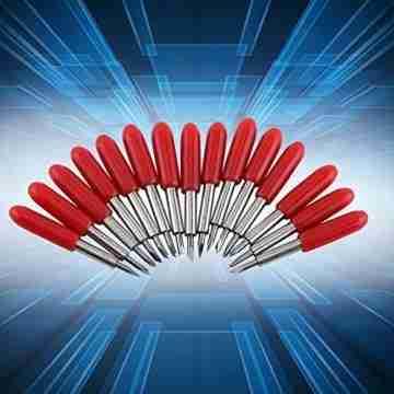Plotter Messer, 15 Stücke 45 Grad Plotter Cutter Blades Rote Kappe Hartmetall Roland GCC Vinyl Cutter Schneideplotter Klinge - 4