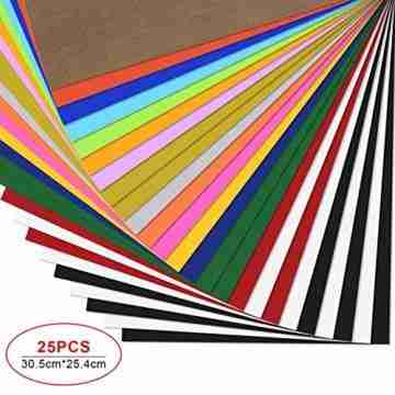 PlotterfolieTextil-25 PackHeatTransferVinyl30.5cm*25.4cm,16Farben,FlexfoliefürCricut&SilhouetteCameo,BONUSTeflonfürHeißePresseoderHaushaltseisenaufDIYT-Shirts&Stoffe - 1