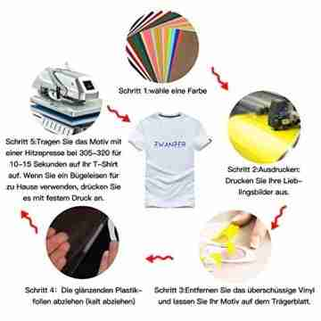 PlotterfolieTextil-25 PackHeatTransferVinyl30.5cm*25.4cm,16Farben,FlexfoliefürCricut&SilhouetteCameo,BONUSTeflonfürHeißePresseoderHaushaltseisenaufDIYT-Shirts&Stoffe - 5