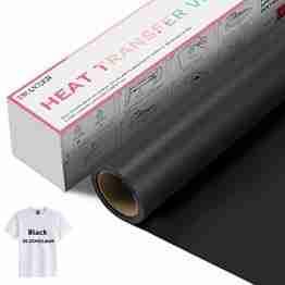 Zwanzer Flexfolie,30.5cm× 3.66m Plotterfolie Textil für Cricut und Silhouette Cameo,Verwendet in DIY-T-Shirt-Kleidung und Anderen Stoffen (Schwarz) - 1